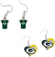 Green Bay Packers Jersey and Swirl Heart Earrings