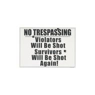 No Trespassing Porcelain Refrigerator Magnet