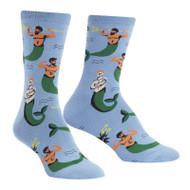 Mermen One Size Fits Most Blue Ladies Crew Socks