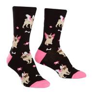 Pugs Pugasus One Size Fits Most Black Ladies Crew Socks