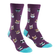 Smarty Cats One Size Fits Most Purple Ladies Crew Socks