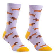Dalmation Hot Dogs One Size Fits Most Purple Ladies Crew Socks