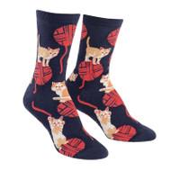 Kitten Knittin' One Size Fits Most Blue Ladies Crew Socks