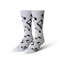 Music Notes White One Size Fits Most Crew Socks