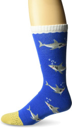 Sharks Blue One Size Fits Most Crew Socks