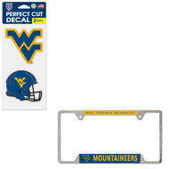 Bundle - 2 Items: West Virginia Metal License Plate Frame and Die Cut Decals