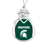 Michigan State Christmas Ornament - Snowman with Football Jersey
