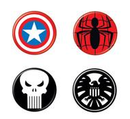 Captain America Punisher Spider-Man 4 Piece Button Set