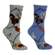Bundle 2 Items: Dachshunds on Blue and on Gray Large Cotton Socks