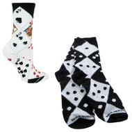 Bundle 2 Items: Casino Dice and Cards Large Cotton Socks