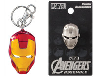 Bundle 2 Items: One (1) Iron Man Color Pewter Keychain and One (1) Pewter Lapel Pin