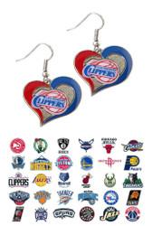 NBA Swirl Heart Earrings - Choose Your Team