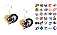 NHL Swirl Heart Earrings - Choose Your Team