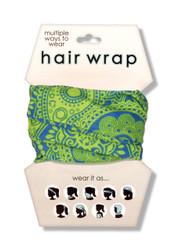 Blue Green Paisley Hair Wrap