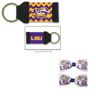 Louisiana State LSU Hair Bow Pair and Chevron Keychain