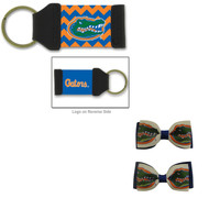 University Of Florida Hair Bow Pair and Chevron Keychain