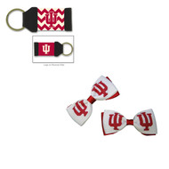 Indiana University Hair Bow Pair and Chevron Keychain