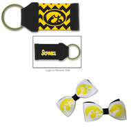 University of Iowa Hair Bow Pair and Chevron Keychain