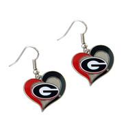 University Of Georgia Swirl Heart Earrings