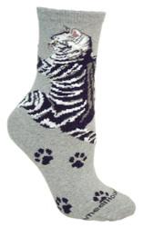 Cat Hug Gray Cotton Ladies Socks
