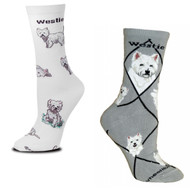 Westie on White and on Gray Medium Socks