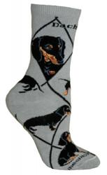 Black Dachshund Dog Gray Large Cotton Socks