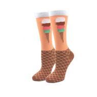 Avocado Love One Size Fits Most Orange Ladies Crew Socks