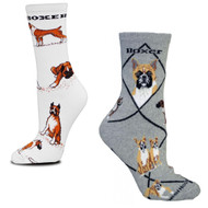 Boxer on White and on Gray Medium Socks