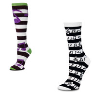 Bundle 2 Items: Music Notes Rugby and Stripes Medium Socks