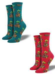 Bundle 2 Items: Sloth Raspberry and Teal One Size Fits Most Womens Socks