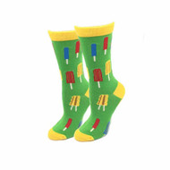 Popsicles One Size Fits Most Green Ladies Crew Socks