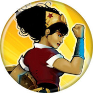 "DC Comics Wonder Woman on Yellow 1.25"" Pinback Button"