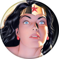 "DC Comics A Ross Wonder Woman on Yellow 1.25"" Pinback Button"