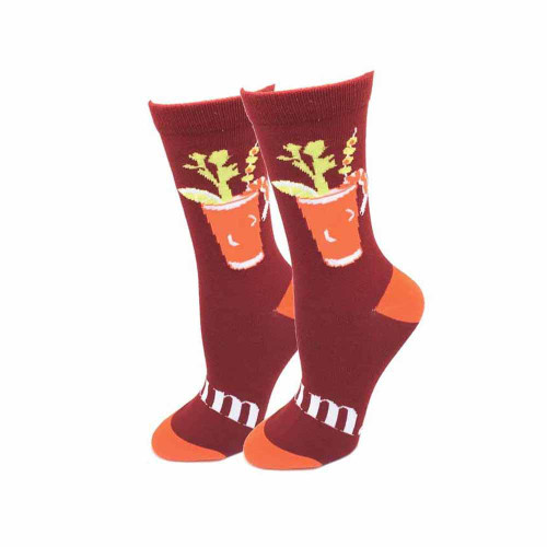 Bloody Mary One Size Fits Most Red Ladies Crew Socks