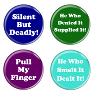 "Fart Humor Funny Phrases 1.5"" Pinback Buttons 4 Pack"