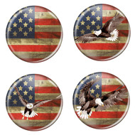 "Distressed USA Flag Patriotic Rustic 1.5"" Pinback Buttons - 4 Pack"