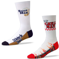 Bundle 2 Items: Bear Man and Grill Man White Large Socks