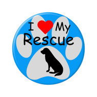 I Love my Rescue Dog Paw Print Pinback Buttons