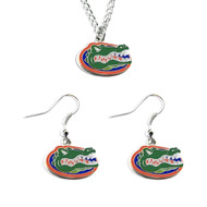 University of Florida Logo Dangle Earrings and Pendant Necklace Set