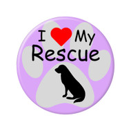 "I Love my Rescue Dog Paw Print 2.25"" Refrigerator Magnets"