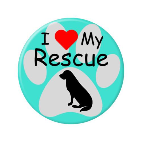 "I Love my Rescue Dog Paw Print 2.25"" Refrigerator Magnets"