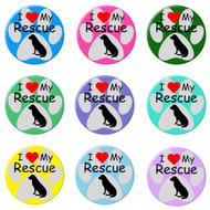 I Love my Rescue Dog Paw Print Refrigerator Magnets
