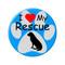 """I Love my Rescue Dog Paw Print Aqua 2.25"""" Refrigerator Magnet"""