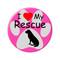 "I Love my Rescue Dog Paw Print Green 2.25"" Refrigerator Magnet"