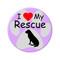 "I Love my Rescue Dog Paw Print Magenta 2.25"" Refrigerator Magnet"