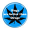"Hugs are better than Drugs Aqua 1.5"" Refrigerator Magnet"