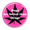 "Hugs are better than Drugs Fuschia 1.5"" Refrigerator Magnet"