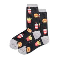 Burger and Fries Black Ladies Crew Socks