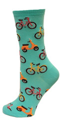 Bike and Vespa Mint Ladies Crew Socks