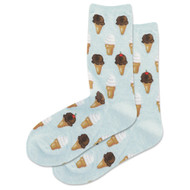 Ice Cream Mint Melange Ladies Crew Socks